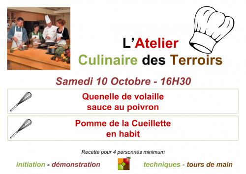 Affiche Atelier Culinaire des Terroirs du 10 Octobre 2015