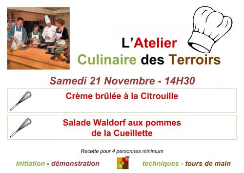 Affiche de l'atelier culinaire du 21 novembre