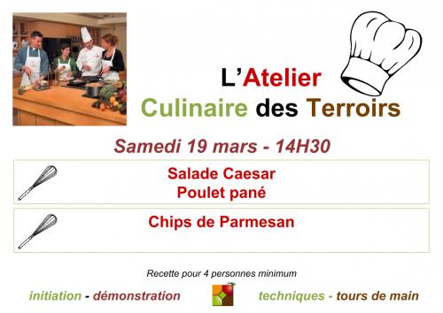 Affiche du cours de cuisine de Mars 2016