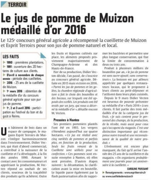 Article du journal l'Union du 22 mars 2016