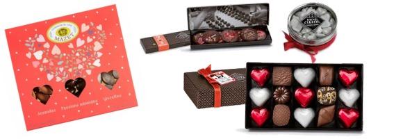 Confiseries en forme de coeur, chocolats et pralines.