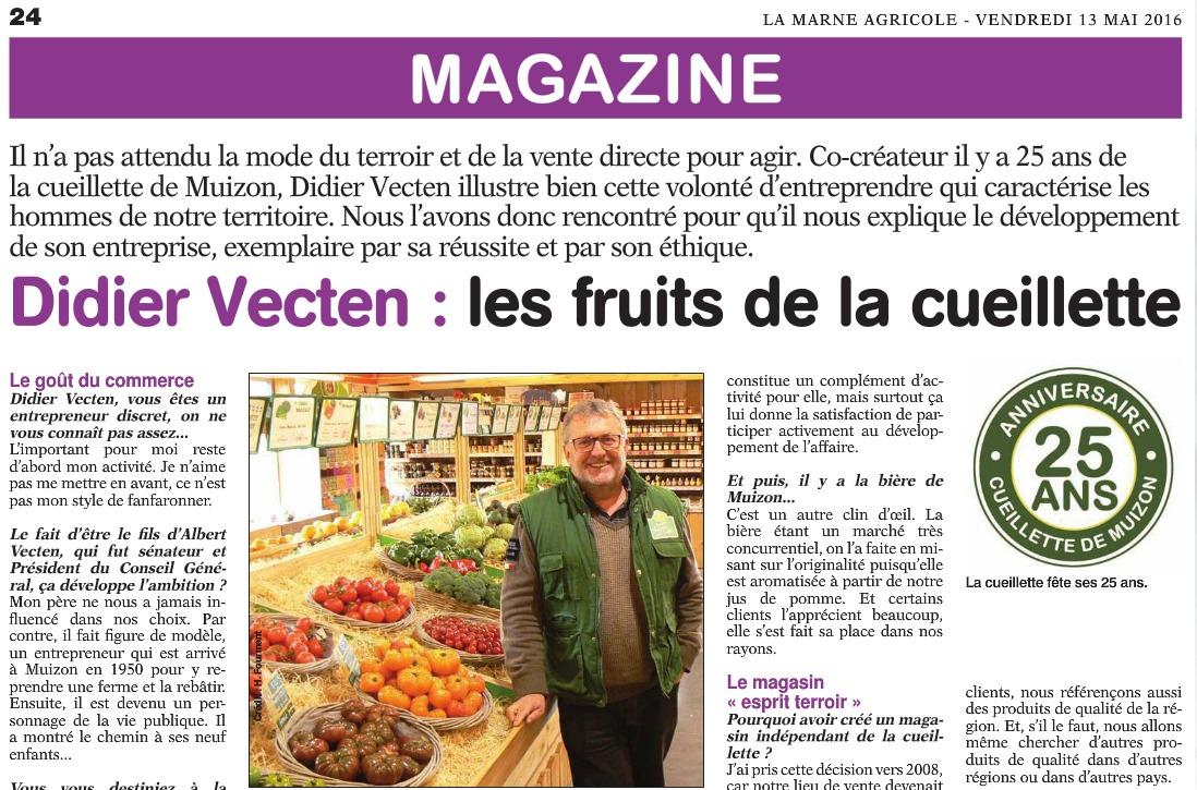 Article de la Marne Agricole du 13 mai 2013