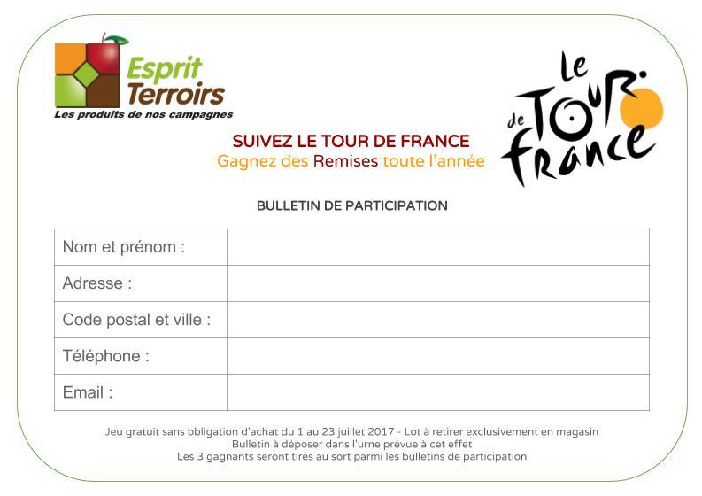 """Bulletin de participation au jeu """"Suivez le Tour de France"""""""