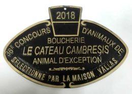 Plaque du 36e Concours d'animaux de Boucherieddu Cateau-Cambresis