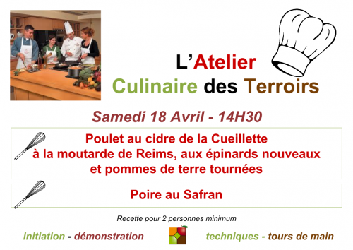 Affiche Atelier Culinaire Avril 2015