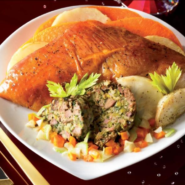 chapon farci aux marrons et foie gras